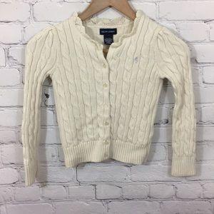 Ralph Lauren Little Girls Sz 6 Cream Knit Cardigan